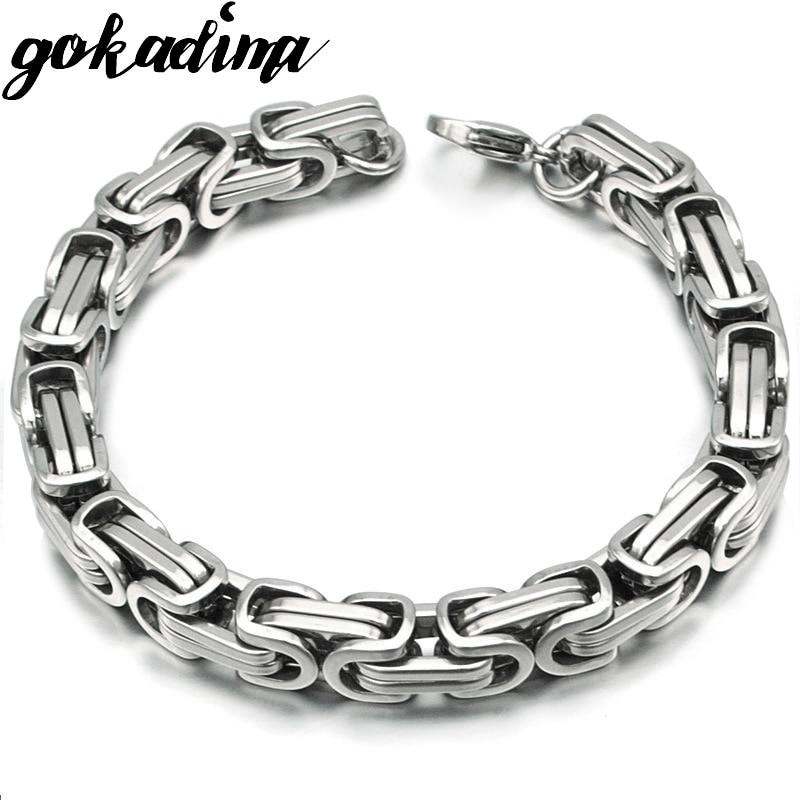 Silver Colour Stainless Steel bracelets Link Byzantine Chain Bracelet For MEN 2