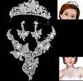 Свадебная мода Комплект Ювелирных Изделий Rhinestone Кристаллическое Люкс Тиара Ожерелье Серьги Шарм Посеребренная Люкс Комплект Ювелирных Изделий