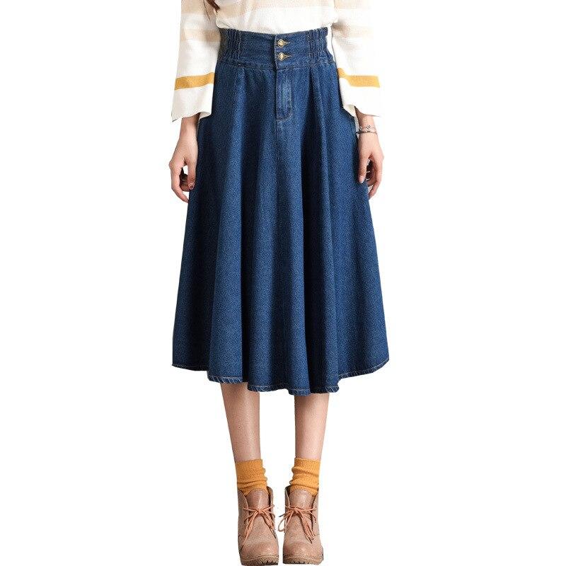 Midi denim skirt 2018 new arrival plus size women jeans skirt high elastic waist pleated female vestidos lady denim skirts
