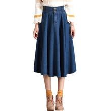 купить Midi denim skirt 2018 new arrival plus size women jeans skirt high elastic waist pleated female vestidos lady denim skirts по цене 1803.48 рублей