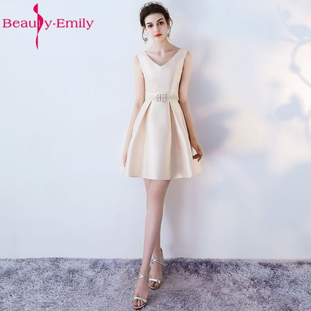 7b5a1400ad7 Beauty Emily Champagne A-Line Short Sexy V-neck Party Prom Dresses 2019  Homecoming Dresses Sleeveless Formal Occasion Dresses