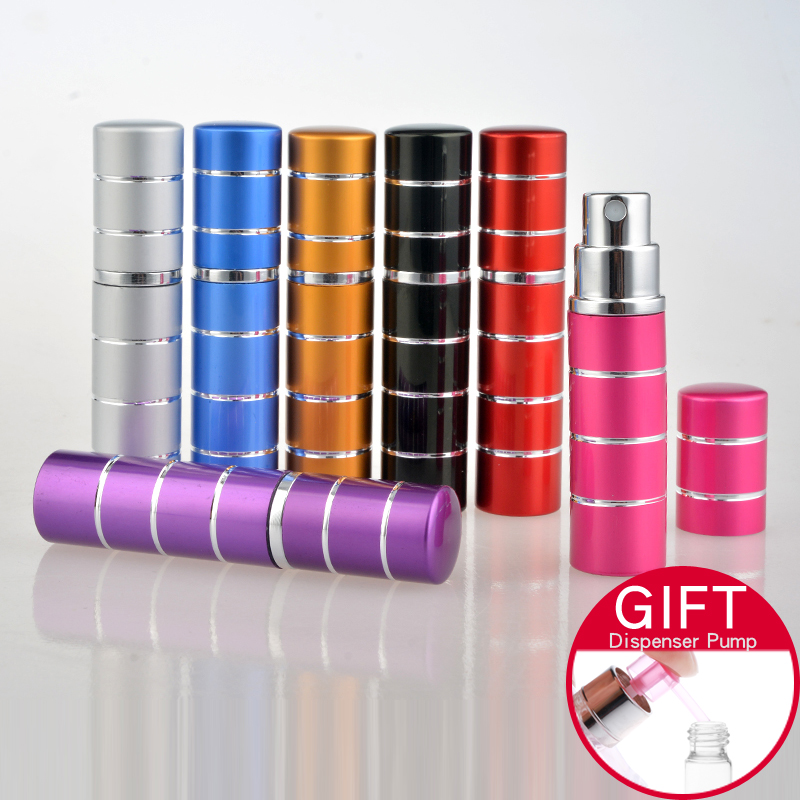 1 Piece 5ML Mini Portable Silver Ring Metal Perfume Bottle With Spray&Empty Parfum Comtainer  With Colorful For Free Shipping
