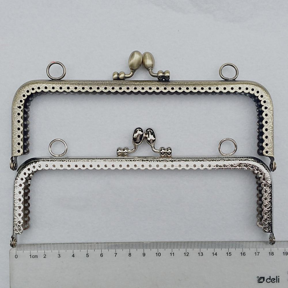 DIY Women Purse Frame Accessores Kiss Buckle Straight Knurling Metal Bag Clasp 5pcs/lot 18cm