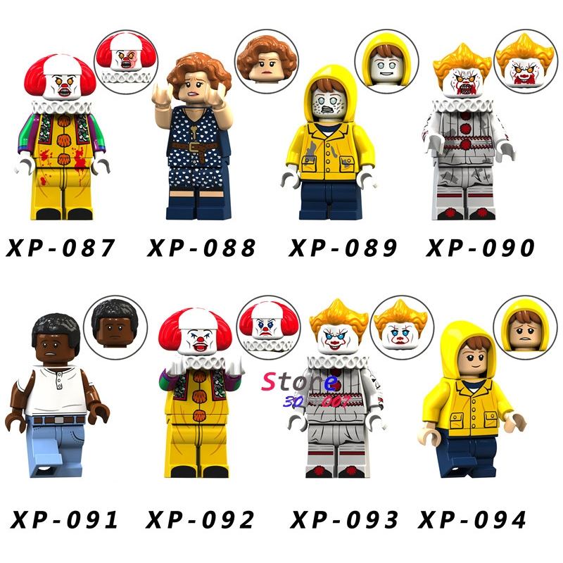 Single Halloween Horror George Beverly Pennywise Clown Chosen Jacobs  Theme Building Blocks Model Bricks Toys For Children