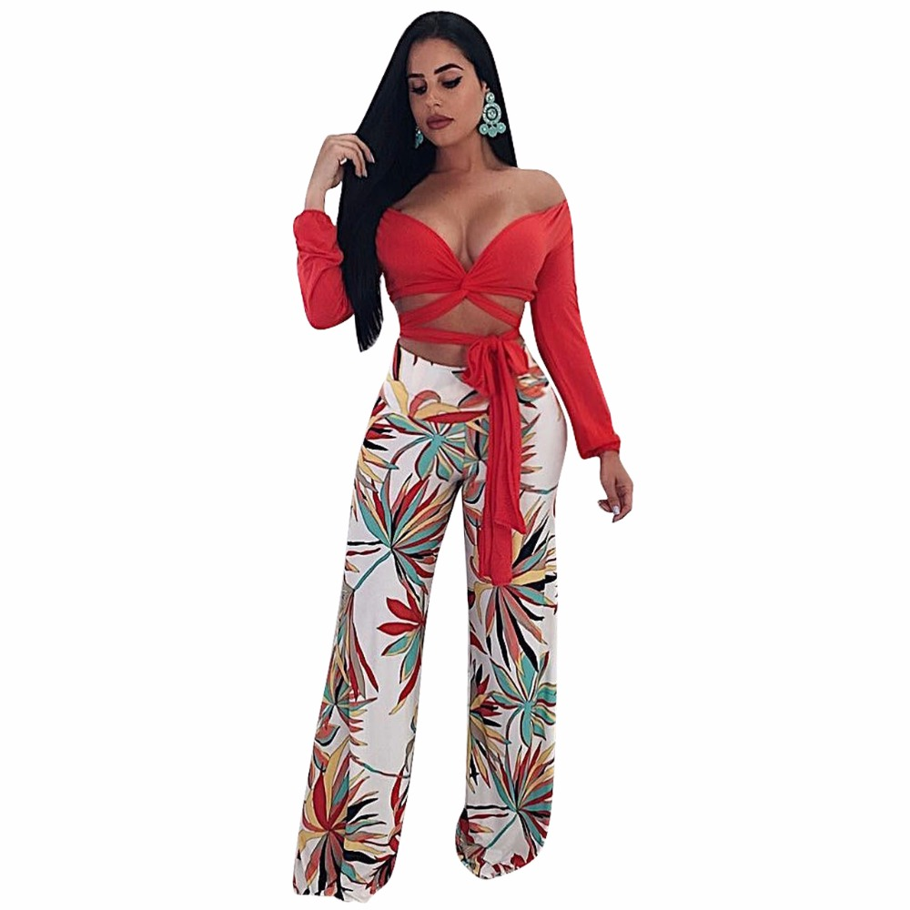 91d3e38d0c75 Floral Printed Sexy Women Summer Trousers Back Zipper Casual Loose Wide Leg  Long Pants Q065
