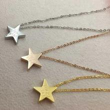 Здесь можно купить  Gold plated lucky star pendant necklace women accessories, fashion stainless steel choker necklace collier jewelery bijoux femme
