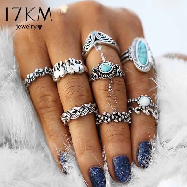 17KM Vintage Elephant Big Stone Rings Fashion Infinity Flower Midi Knuckle Ring