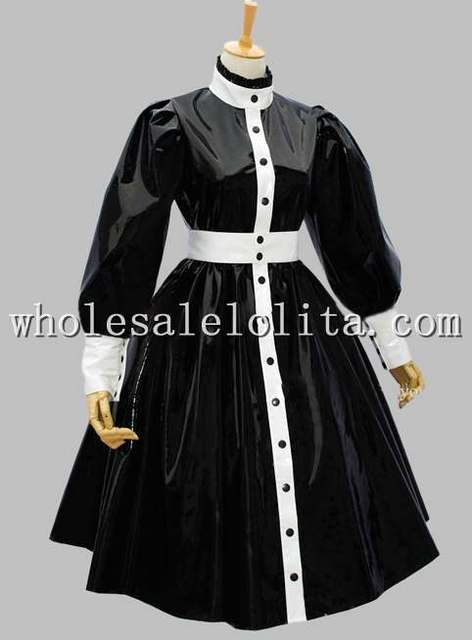 Cheap Gothic Black And White Dresses Patent Leather Victorian