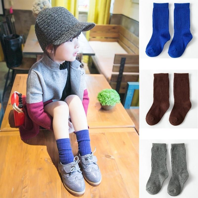 Hot Sale 1 Pair New Cute Cartoon Korean Style Children Kids Girls Socks 5 Solid Color Beautiful chaussette enfants