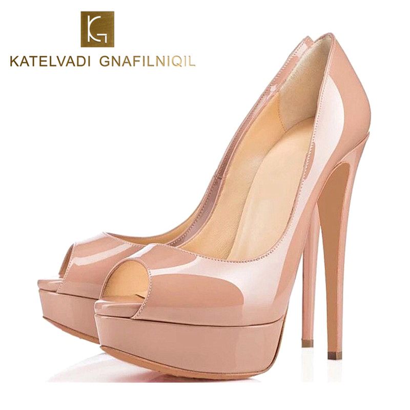 Brand Platform Shoes Woman High Heels Sexy Pumps Peep Toe Nude Women Party Shoes High Heels Fashion Ladies Wedding Shoes K-144 lasyarrow brand shoes women pumps 16cm high heels peep toe platform shoes large size 30 48 ladies gladiator party shoes rm317