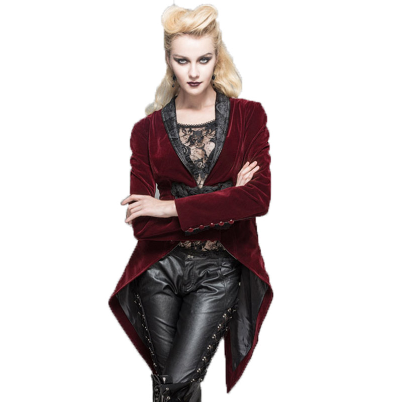 Steampunk Red Jacket Long Sleeve Asymmetirc Gothic Coat Slim Fit Women's Spring Coat With Long Sleeves Jackets V-neck