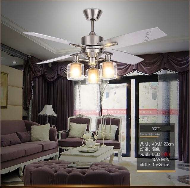 Retro Dining Room Fan Light Ceiling Fans American Living Room Minimalist  Modern Bedroom Wooden Leaf Remote
