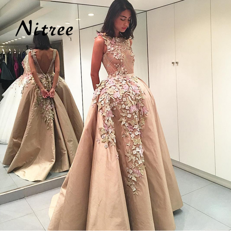 New Colorful Butterflies Flowers Evening Dresses Arabic Ball Gown V Backless Formal Gowns Champagne Prom Dress Abendkleider 2017