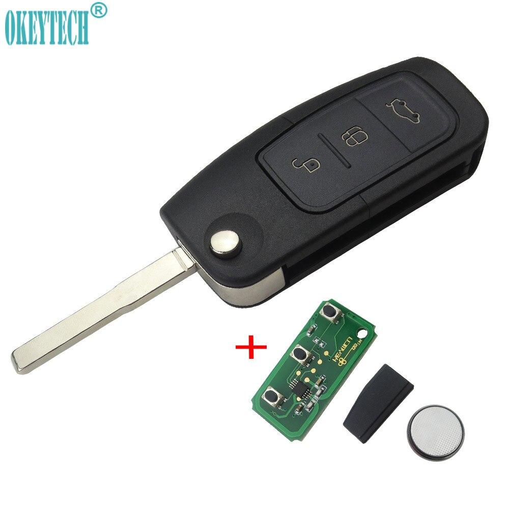 OkeyTech 315 mhz 433 mhz 4D63 Circuito Integrato 3 Pulsante di Vibrazione Pieghevole Chiave dell'automobile di Telecomando per Ford Focus 2 3 mondeo Fiesta key Fob Caso 4D60