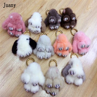 rabbit keychains real mink keychain fur key chains bags trinket pompom fur key chains 1pcs juany