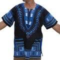 Durável homens da camisa de t roupas de marca MoKingTop Tradicional Casuais Solta Impressão Africano Dashiki T-Shirt Com Bolso