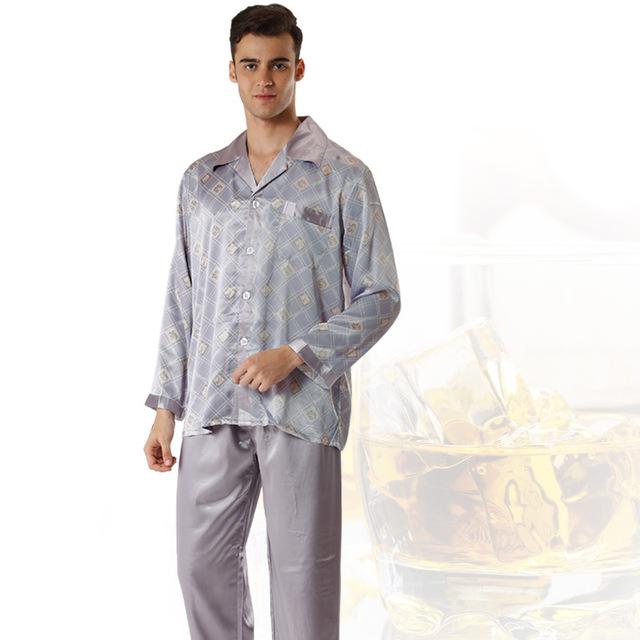 Mens De Satén de Seda Pijamas Pijamas de Seda de Los Hombres Chinos de Seda ropa de Dormir de Dos Piezas