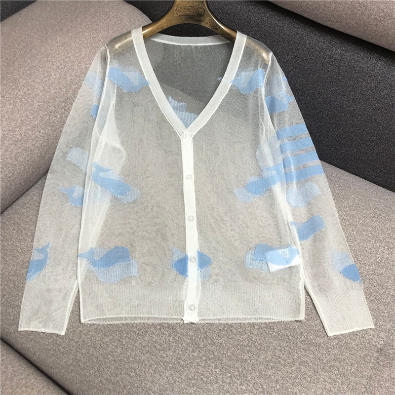 Luxury Designer Brand Knitted Cardigans For Women V Neck Woven Whale Jacquard Sexy Perspective Loose Knitted Cardigans Sweater