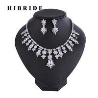 HIBRIDE Neueste Design Indische Schmuck Frauen Brautschmuck Sets Mit Halskette ohrringe Set Hochzeit Kleid Zubehör N-223