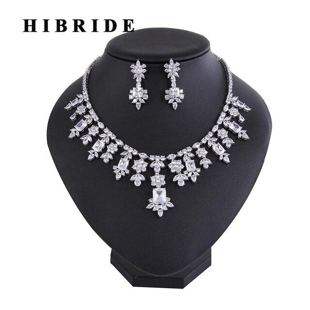 134b9418d5db Hibride último diseño mujeres indias joyas Juegos de joyería para novia con aretes  collar establecidos vestido