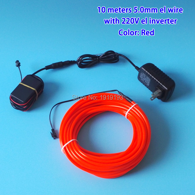 Flexible neon EL Wire AC110 220V 5.0mm 10Meters LED Strip Glowing ...