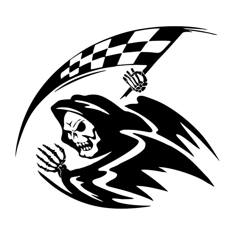 18 5 16 6cm Run The Checkered Flag Racing Car Stickers Funny Motorcycle Vinyl Decals Black Silver C7 0529