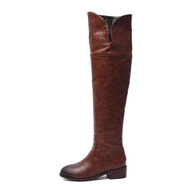 RIZABINA ขนาด 34-48 2020 Western สไตล์ฤดูหนาวผู้หญิงมากกว่าเข่าบู๊ทส์ทุกวันสำนักงานสุภาพสตรี Flats รองเท้าบูทสูงคุณภาพขนสัตว์ Botas