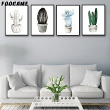 FOOCAME Watercolor Plant Cactus Posters and Prints Art Canvas Painting Modern Home Decoration Wall Pictures For Living Room