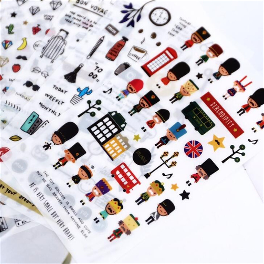 6 Sheets/pack Travelling Label Stickers Decorative Stationery Stickers Scrapbooking DIY Diary Album Stick Label