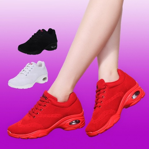Sneakers Airbag Bottom Square Dance Shoes Sports Adult Fitness Shoes Modern Dance Fabric Women Shoes Dance Sports Ladies Shoes Multan