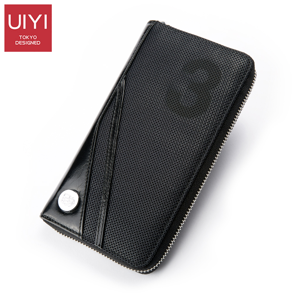 UIYI 2018 New Casual Men wallet genuine leather purse and handbags for male luxury brand black zipper men clutches #UYQ8007 new fashion men wallet pu leather purse handbags for male luxury brand black no zipper men clutches free shipping card holder