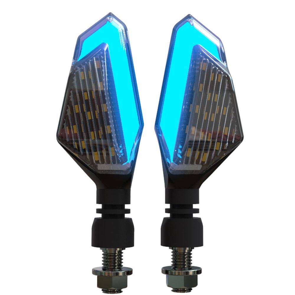 2 мигалки для мотоцикла светодиодный указатель поворота для круизера Honda Kawasaki BMW Yamaha мотоцикл мигалка Передняя Задняя 2 шт. сигнальная лампа - Цвет: Blue Yellow