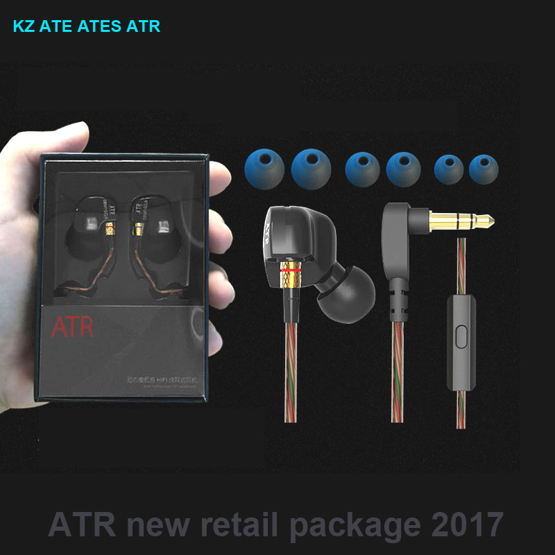 Original KZ ATE ATR ATES In-ear Earphones vs kz-ed2 se535 se215 Earbuds sport earphone Microphone se845  with retail package kz ates ate atr earphones with microphone for phone stereo hd hifi professional sport running headset driver earbuds monitor