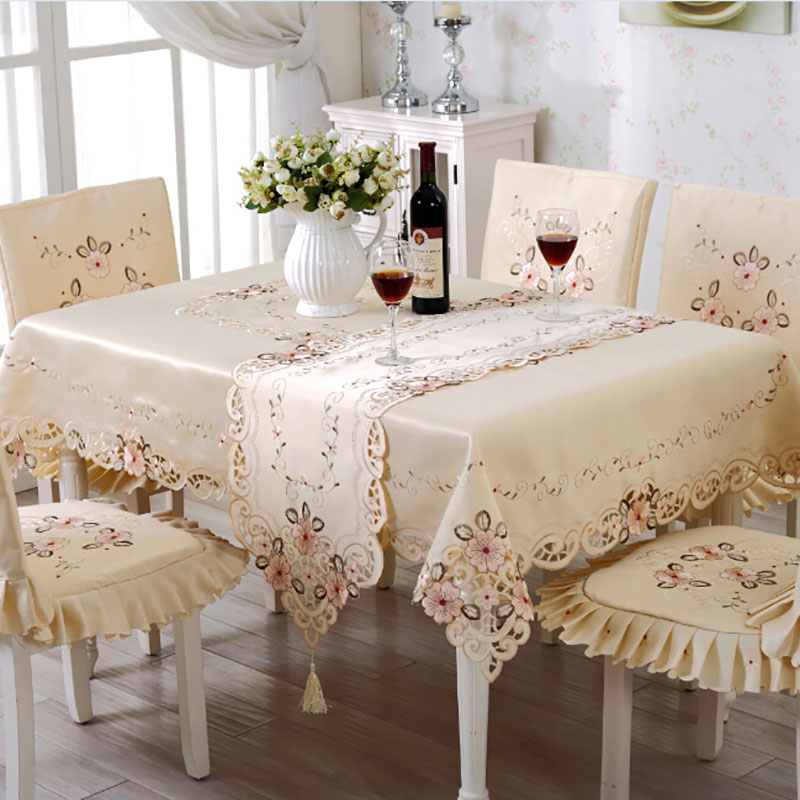 Embroidered Table Cloth Classic Floral Round Square