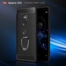 רך סיבי פחמן מרקם מקרה טלפון עבור Sony Xperia XZ4 XZ3 XZ2 XZ1 XZ XA3 XA2 XA1 בתוספת מגנטי טבעת מחזיק סיליקון כיסוי