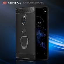 Zachte Koolstofvezel Textuur Telefoon Case Voor Sony Xperia XZ4 XZ3 XZ2 XZ1 Xz XA3 XA2 XA1 Plus Magnetische Ring houder Siliconen Cover