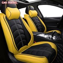 Housses de siège avant et arrière en cuir, pour siège de voiture, pour hyundai santa fe, toyota fortuner lexus est 250 grand starex ford smax