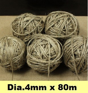 Natural Hemp Rope Dia.4mmx80m Jute pet tie for gift packing, Jute rope, Hemp String, hang tag rope, DIY jute cord Free shipping