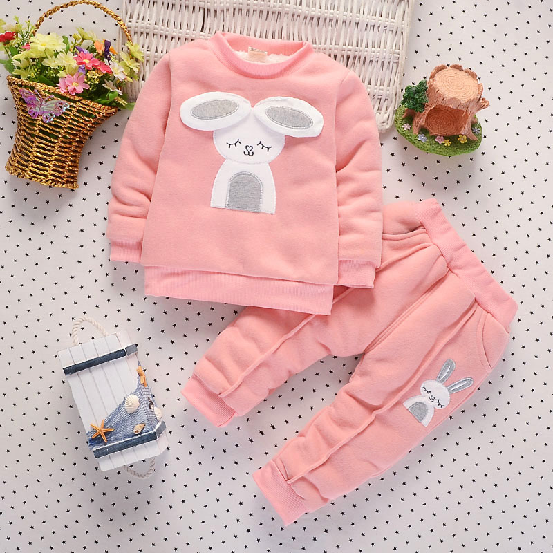 BibiCola 2018 autumn winter baby girl warm clothing sets cartoon rabbit coat+pants Thick warm sport Suit for baby girls clothing baby girl boy clothing sets 2018 cartoon pattern autumn winter warm toddler vest shirt pants 1 2 3 4 years kid clothing suit