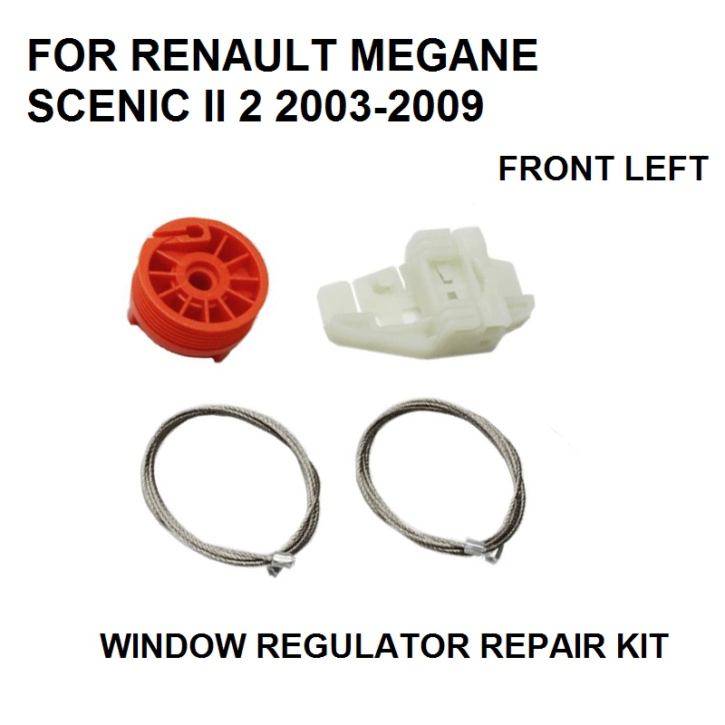 CAR WINDOW REGULATOR SLIDER REPAIR KIT CLIPS FOR RENAULT MEGANE SCENIC II 2 NEW 2003-2009 FRONT LEFT NEW