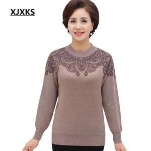 Image 1 - XJXKS 2019 new winter thick warm warm cashmere sweater women pullover loose plus size fashion diamond printed women tops