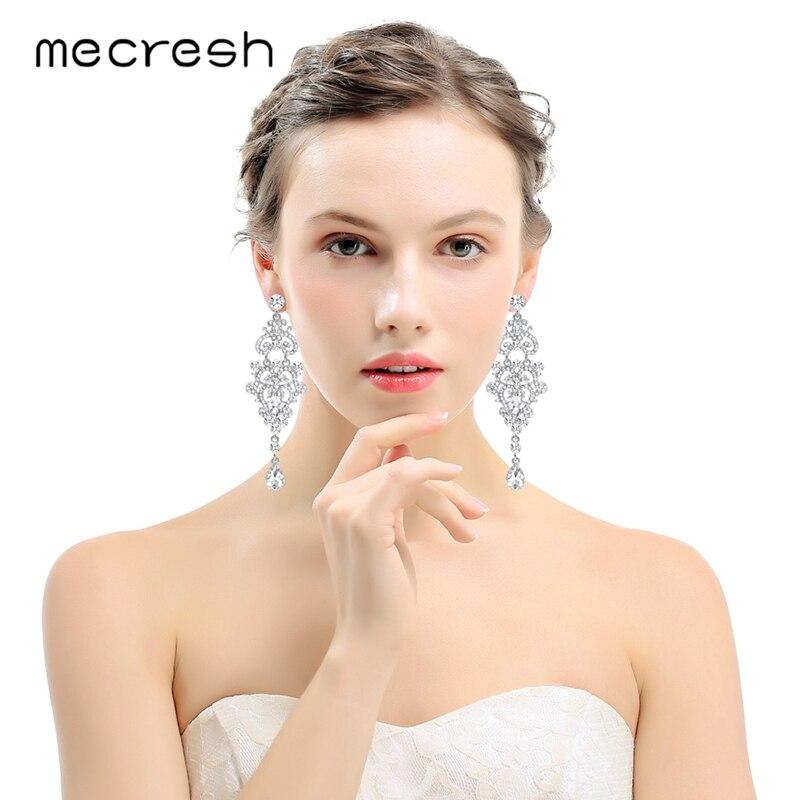 Mecresh Kristal Çilçıraq Uzun Sırğalar Gümüş Rəngli Rimeston - Moda zərgərlik - Fotoqrafiya 2