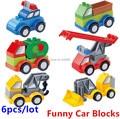 6 unids/lote! cars cambiable bloques grandes ladrillos de construcción de ingeniería serie de coches de policía de bomberos compatible juguetes para bebés