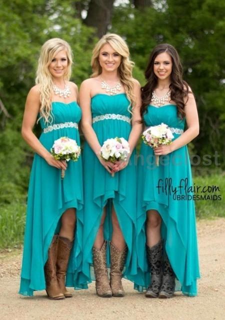 9366c3fa458 2017 Beach Country Style Bridesmaid Dresses A-Line Chiffon Hi-Lo Vestidos  De Festa Charming Weeding Guest Party Dress Cheap