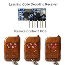 3pcs 433Mhz Remote Control and 1pcs 433 Mhz Wireless Receiver Learning Code 1527 Decoding Module 4Ch output With Learning Button
