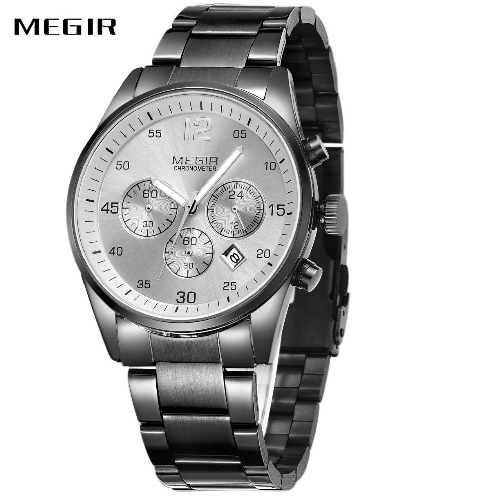 MEGIR Fashion Casual Men Quartz Wrist Watch Full Steel Design Working Sub-dials 24-hour Calendar Dial Business Waterproof Watch reccagni angelo бра reccagni angelo a 4650 2