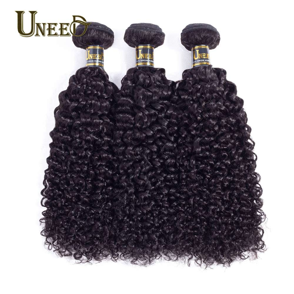 Uneed Hair 3Bundles Brazilian Kinky Curly Hair Wave 100% Brazilian Human Hair Weave Bundles Natural Color Remy Hair Extensions