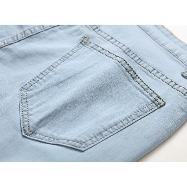 Blue Ripped Distressed Denim Short Jeans 8
