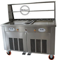 2 Square double pan fry ice cream maker with 11 tanks with 4 pcs shovels with shipping cost to the sea port