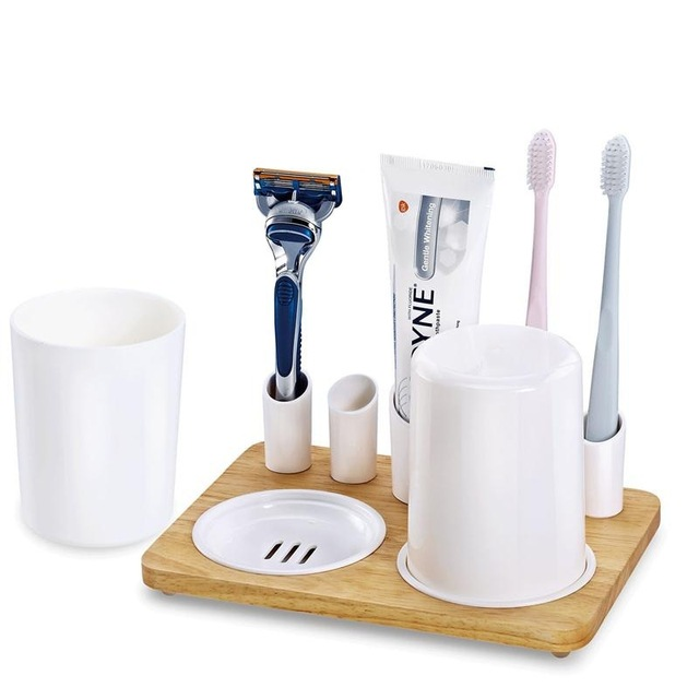 . Wooden Toothbrush Holder Toothpaste Holder Bathroom cup Set Clean tooth set  creative bathroom toothbrush cups toothpaste holder in Bathroom
